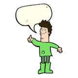 hombre de pensamiento positivo de la historieta en trapos con la burbuja del discurso Imagenes de archivo