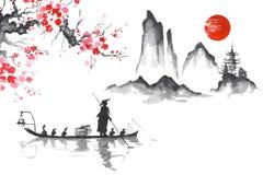 Hombre de pintura japonés tradicional del arte de Japón Sumi-e con el barco ilustración del vector