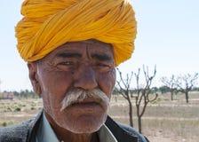 Hombre de Rajasthán con el turbante anaranjado Fotografía de archivo libre de regalías