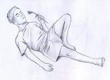 Hombre de reclinación stock de ilustración