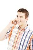 Hombre de risa en el teléfono Foto de archivo