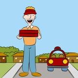 Hombre de salida de la pizza Imágenes de archivo libres de regalías