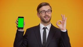 Hombre de smartphone de la demostración del negocio con la pantalla verde y el gesto de la autorización, devolución de efectivo almacen de metraje de vídeo