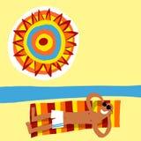 Hombre de Sunbath stock de ilustración
