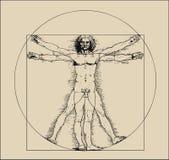 Hombre de Vitruvian con tonos el marcar con rayitas cruzadas y de la sepia ilustración del vector