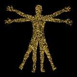 Hombre de Vitruvian El concepto de confeti del oro basado en bosquejos cerca ilustración del vector