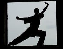 Hombre de Wushoo en arte marcial de la práctica roja imagenes de archivo