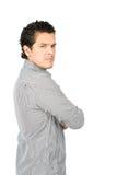 Hombre decepcionado enojado medio V detrás dado vuelta del Latino imagen de archivo libre de regalías