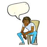 hombre dejected de la historieta con la burbuja del discurso Fotos de archivo libres de regalías