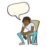 hombre dejected de la historieta con la burbuja del discurso Imagen de archivo libre de regalías