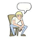 hombre dejected de la historieta con la burbuja del discurso Imagenes de archivo