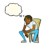 hombre dejected de la historieta con la burbuja del pensamiento Fotos de archivo libres de regalías