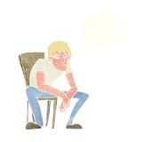 hombre dejected de la historieta con la burbuja del pensamiento Fotos de archivo