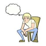 hombre dejected de la historieta con la burbuja del pensamiento Imagenes de archivo