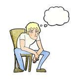 hombre dejected de la historieta con la burbuja del pensamiento Foto de archivo