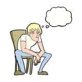 hombre dejected de la historieta con la burbuja del pensamiento Fotografía de archivo libre de regalías