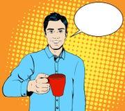 Hombre del arte pop con una taza de café stock de ilustración