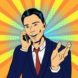 Hombre del arte pop que habla en el teléfono stock de ilustración