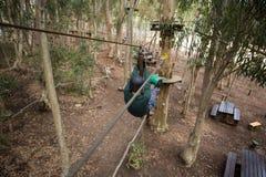 Hombre del caminante que va abajo de una línea de la cremallera en el bosque Imagen de archivo libre de regalías