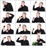 Hombre del collage que prueba un vidrio de vino de Oporto rojo Foto de archivo libre de regalías
