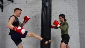 Hombre del combatiente en los guantes de boxeo que hacen soplos en bolso del combate mientras que entrenamiento personal Boxeo de almacen de metraje de vídeo