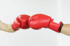 Hombre del combatiente que perfora con los guantes de boxeo rojos Fotos de archivo