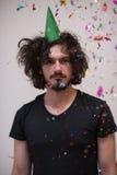 Hombre del confeti en partido Imagenes de archivo