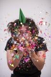Hombre del confeti en partido Imagen de archivo