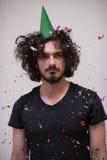 Hombre del confeti en partido Foto de archivo