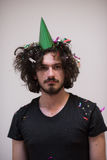 Hombre del confeti en partido Fotografía de archivo libre de regalías