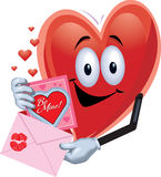 Hombre del corazón con la tarjeta de la tarjeta del día de San Valentín Fotos de archivo libres de regalías