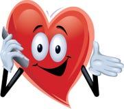 Hombre del corazón que habla en un teléfono celular Ilustración del Vector
