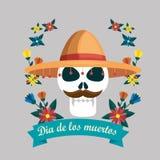 Hombre del cráneo con las flores y el día del th de la cinta de los muertos ilustración del vector