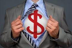 Hombre del dólar del super héroe imagen de archivo libre de regalías
