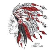 """Hombre del """"de WaterÑ del vintage en el jefe indio del nativo americano Escarcho negro Lirio indio del fecolor Ilustración del ve Imagen de archivo libre de regalías"""