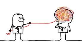 Hombre del doctor que desenreda un cerebro stock de ilustración