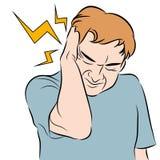 Hombre del dolor de cabeza ilustración del vector