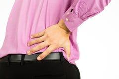 Hombre del dolor de espalda Fotos de archivo libres de regalías