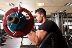 Hombre del entrenamiento del rizo del brazo del banco del predicador del bíceps en el gimnasio Foto de archivo
