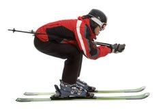 Hombre del esquiador en actitud aerodinámica Imagen de archivo libre de regalías