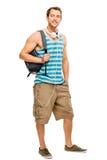 Hombre del estudiante universitario de nuevo a escuela Foto de archivo libre de regalías