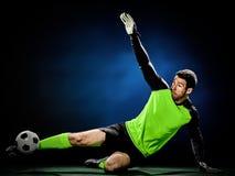 Hombre del fútbol del portero aislado Imagen de archivo