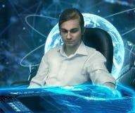 Hombre del futuro científico Imágenes de archivo libres de regalías