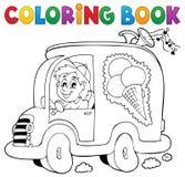 Hombre del helado del libro de colorear en coche stock de ilustración