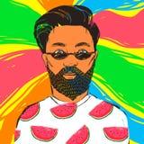 Hombre del inconformista en gafas de sol oscuras con la barba y el bigote Ejemplo dibujado mano del verano del vector Fotografía de archivo libre de regalías