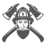 Hombre del inconformista en sombrero del bombero con el ejemplo del vector de dos hachas en estilo del vintage del monocrome Imágenes de archivo libres de regalías