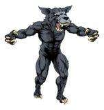 Hombre del lobo con las garras hacia fuera Fotografía de archivo