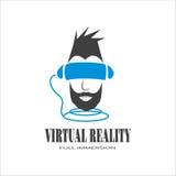 Hombre del logotipo con una barba negra sumergida en la realidad virtual de c fotografía de archivo