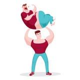 Hombre del músculo que detiene al hombre gordo Foto de archivo libre de regalías