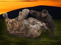 Hombre del Neanderthal y tigre del sabertooth Fotos de archivo
